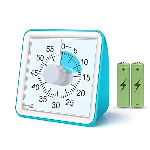 GEEKERA Visual Timer, Countdown Timer Clock, 60 Minutes Quiet Kids Analog Timer And Keeper for School Classroom Teaching Office Cooking, Time Management Tool for Adults