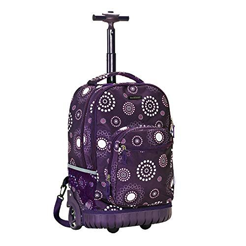 Rockland Single Handle Rolling Backpack, Purple Pearl, 19-Inch