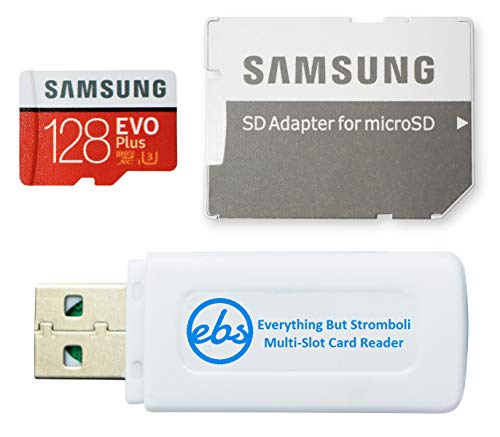 Samsung Evo Plus 128GB Micro SDXC Memory Card Class 10 (MB-MC128H) Works with Android Galaxy Cell Phones A10e, A10s, A30s, A50s, A90 5G Bundle with 1 Everything But Stromboli MicroSD & SD Card Reader