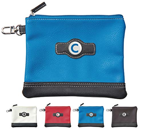 Classic Zipper Golf Pouch - A to Z Personalized Letter Logo (Blue C)