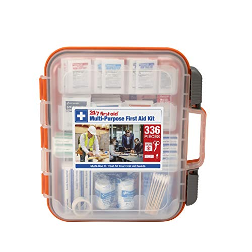 24/7 First Aid 336 Piece First Aid Kit, Orange