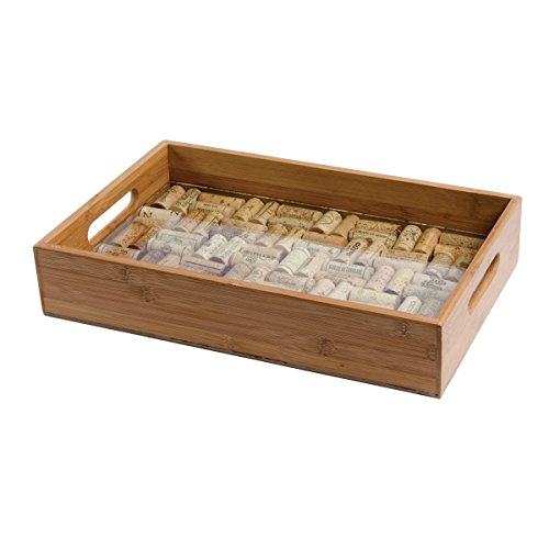 Oenophilia Greenophile Bamboo Cork Service Tray Kit, 100% Bamboo, Glass Pane, Do-it-Yourself, Corks NOT included