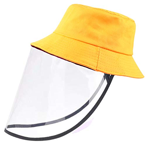 Jastore Kids Boy Girl Bucket Hat Sun Protection Hats Breathable Summer Windproof Hat (Yellow, One Size)