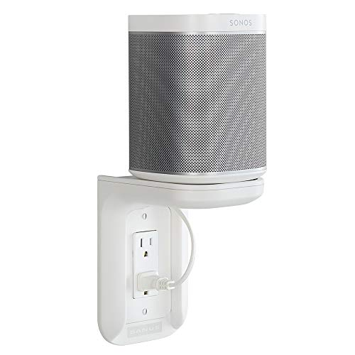 Sanus Outlet Shelf - Holds Any Device Up To 10lbs & Installs In Seconds - Includes Standard & Decora Style Outlet Covers & Integrated Cable Management Channel - Works For Sonos & Smart Home Speakers