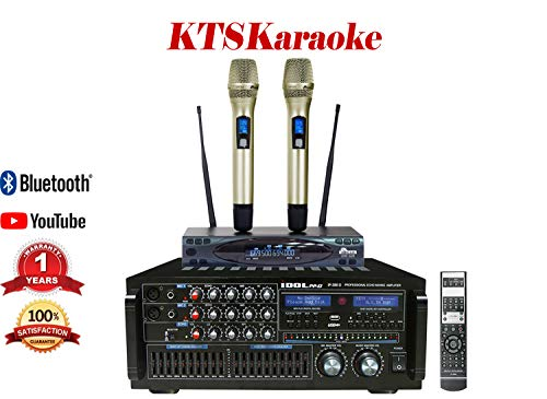 Bundle IDOLpro 1400W Recording/Bluetooth/HDMI/10 Band LED Equalizer Console Mixing Amplifier W/Dual Wireless Microphones Auto Mute/Shut Down Built-in