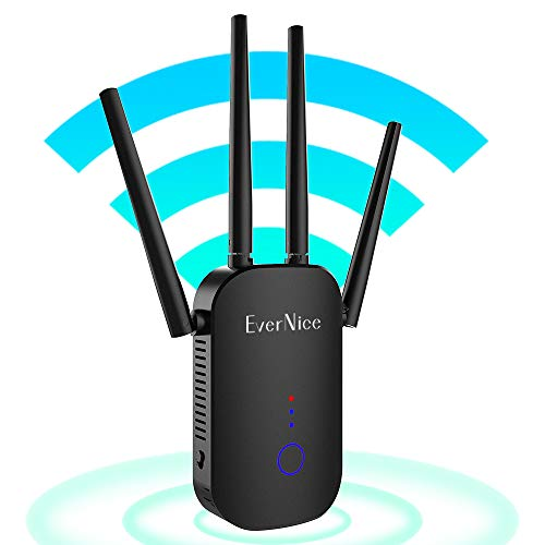 WiFi Extender, EverNice 1200 Mbps 2.4 & 5GHz WiFi Range Extender Coverage Up to 3000 sq.ft and 30 Devices, WiFi Booster Extender Signal Amplifier with Ethernet Port, Access Point for Home