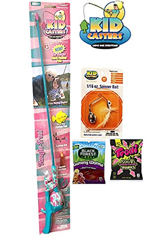 Girl's Youth Fishing Pole Gift Set with Spinner Bait and Candy | Kid Caster's No Tangle Pole | Gift from Grandpa or Grandma