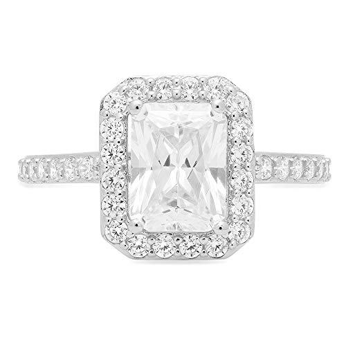 2.07 ct Emerald Cut Solitaire with Accent Halo Quality Lab Created White Sapphire Ideal VVS1 & Simulated Diamond Engagement Promise Statement Anniversary Bridal Wedding Ring 14k White Gold, Size 7