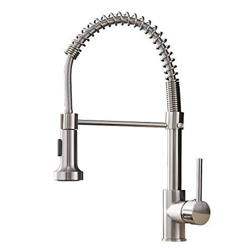 OWOFAN Kitchen Faucets Low Lead Commercial Solid Brass Single Handle Single Lever Pull Down Sprayer Spring Kitchen Sink Faucet, Brushed Nickel