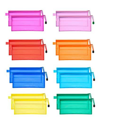 JM-capricorns 36pcs 9 x 4-1/2 inches Big Capacity Waterproof Plastic Double Layer Zipper File Bags Invoice Pouches Bill Bag Pencil Pouch Pencil Case Pen Bag (10 Colors)