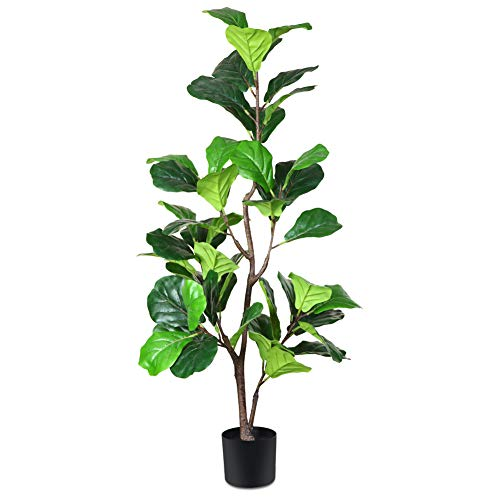 CROSOFMI Artificial Fiddle Leaf Fig Tree 4.3 Feet Fake Ficus Lyrata Plant with 49 Leaves Faux Plants in Pot for Indoor Outdoor House Home Office Garden Modern Decoration Perfect Housewarming Gift