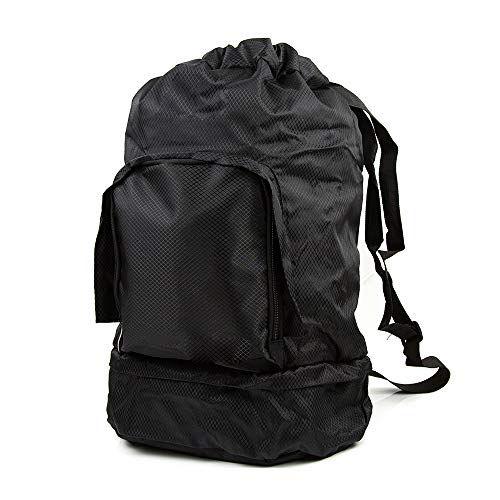 Toysery Foldable Duffel Bag for Women and Men, Smart Travel Backpack, Waterproof Weekender Bag with Shoulder Straps, Large Capacity Sports Tote Bag For Gym, Yoga, Vacation, Storage and More - Black
