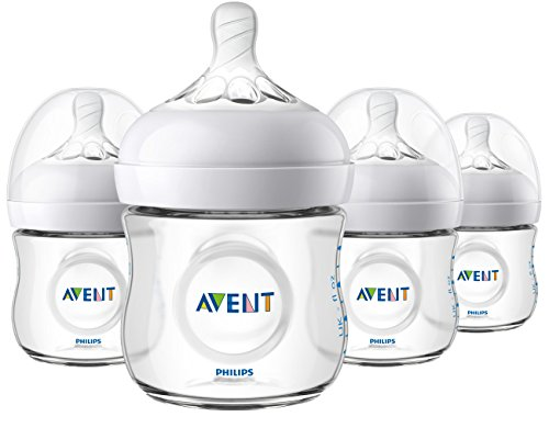 Philips Avent Natural Baby Bottle, Clear, 4oz, 4pk, SCF010/47