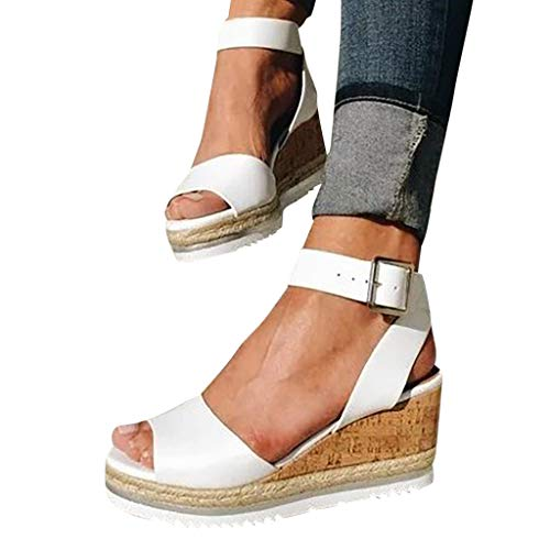 Eduavar Summer Sandals for Women 2021 Clearance Wedge Platform Espadrille Cross Ankle Strap Slingback Open Toe Summer High Heel Sandals