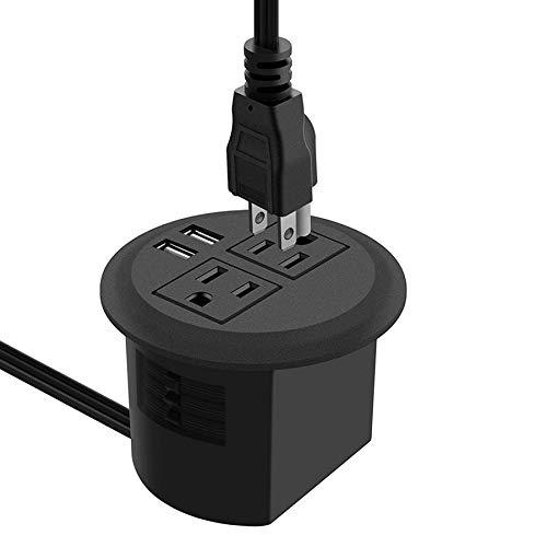 Desktop Power Grommet with USB,Countertop Power Grommet Outlet with 2 Outlets,Desk Power Grommet with 2 USB, 3 inch Hole Grommet Mounts Power Outlet,with 6ft Extension Cord