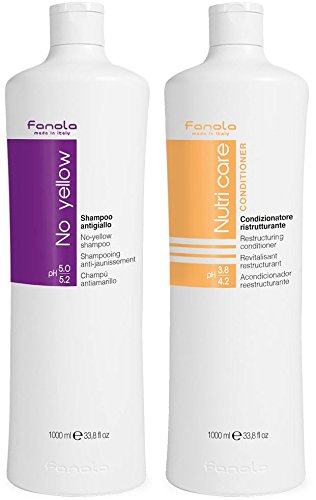Fanola No Yellow Shampoo & Nutri Care Conditioner, 1000 ml