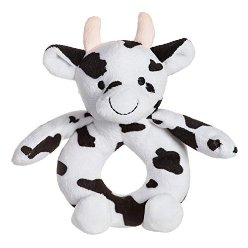 Apricot Lamb Baby Cow Soft Rattle Toy, Plush Stuffed Animal for Newborn Soft Hand Grip Shaker Over 0 Months (Cow, 6 Inches)