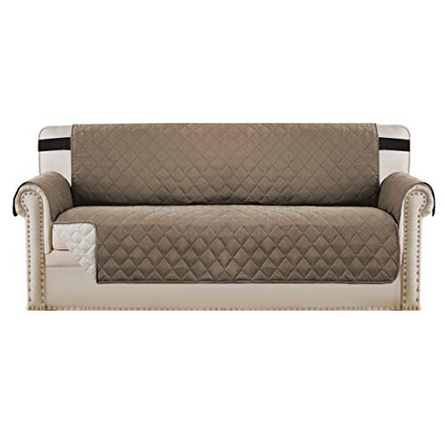 Reversible Sofa Slipcover Quilted Furniture Protector with 2' Elastic Strap Water Resistant Sofa Covers Seat Width Up to 66' Slipcover Protect from Dogs (Sofa, Taupe/Beige)