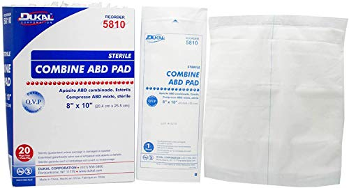 Abdominal Pads. Pack of 20 Sterile ABD Pads 8' x 10'. Highly Absorbent sterile dressings for Wound Padding and Protection. Multi-Layer Dressing. Sealed Edges.