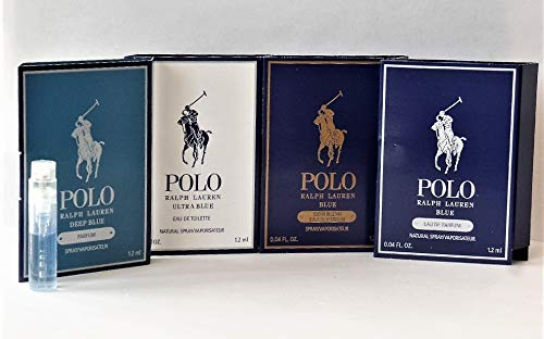 4 pc. Ralph Lauren POLO DEEP BLUE, ULTRA BLUE, GOLD BLEND, BLUE EDP Spray Cologne Sample Vials Set .04 oz / 1.2 ml Each MENS New