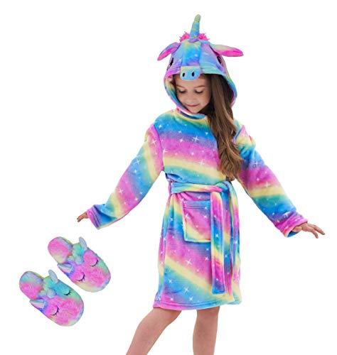 Unicorn Hooded Bathrobe Sleepwear Matching Slippers Girls Gifts (Rainbow Galaxy, 8-9 Years)