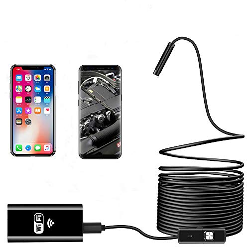 Wireless Endoscope WiFi Inspection Camera USB Endoscope 2.0MP HD Borescope 2 in 1Flexible Snake Camera Waterproof Tube Drain Pipe Camera with 8 Led for iOS Samsung Android iPhone Windows-16.4ft(5M)