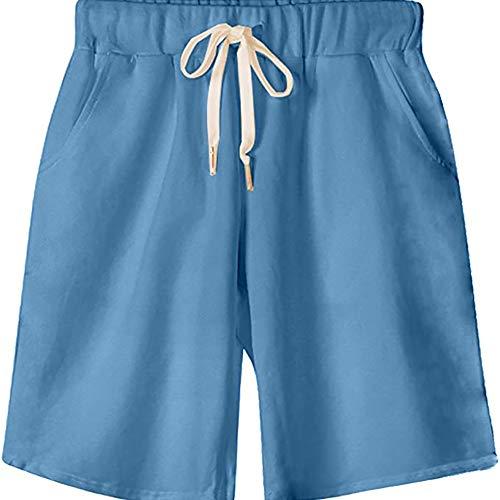 Gooket Women's Elastic Waist Soft Jersey Knit Bermuda Shorts with Drawstring Light Blue Tag 4XL-US 16