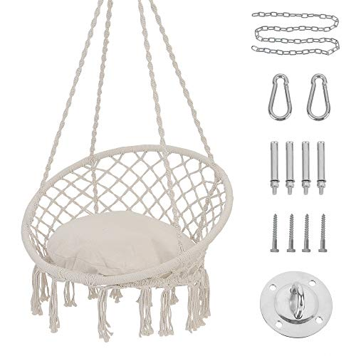 Patio Watcher Hammock Chair Macrame Swing with Cushion and Hanging Hardware Kits, Handmade Knitted Mesh Rope Swing Chair for Indoor, Outdoor, Home, Bedroom, Patio, Yard,Deck, Garden