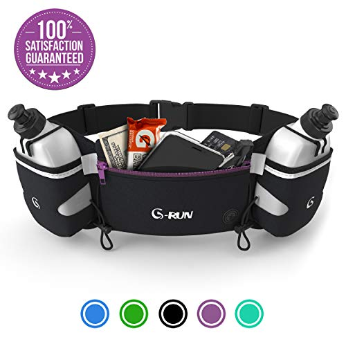 Hydration Running Belt With Bottles - Water Belts For Woman And Men - IPhone Belt For Any Phone Size - Fuel Marathon Race Pack For Runners