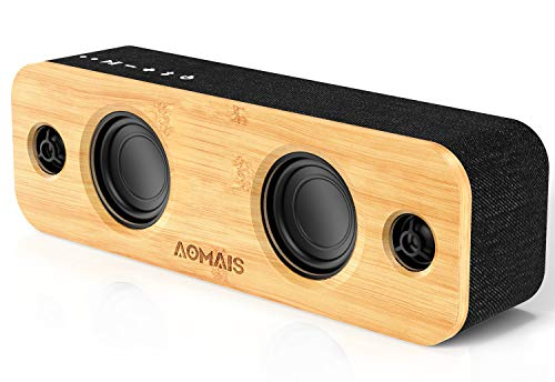 AOMAIS Life Bluetooth Speaker, 30W Loud Home Party Wireless Bluetooth Speakers, 2 Woofers & 2 Tweeters for Super Bass Stereo,TWS and 100Ft Bluetooth V5.0,12-Hour Playtime Subwoofer, Imitation Bamboo