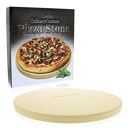 Pizza Stone for Grill and Oven - 15 Inch 3/4' Extra Thick - Cooking & Baking Stone for Oven and BBQ Grill - With Durable Foam Packaging, Gift Box & Pizza Recipes EBook