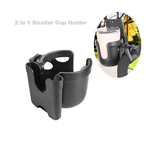 Stroller Cup Holder, Universal Cup Holder Rack, 2 in 1 Bottle Holder for Buggy Pushchair Wheelchair Bike and More