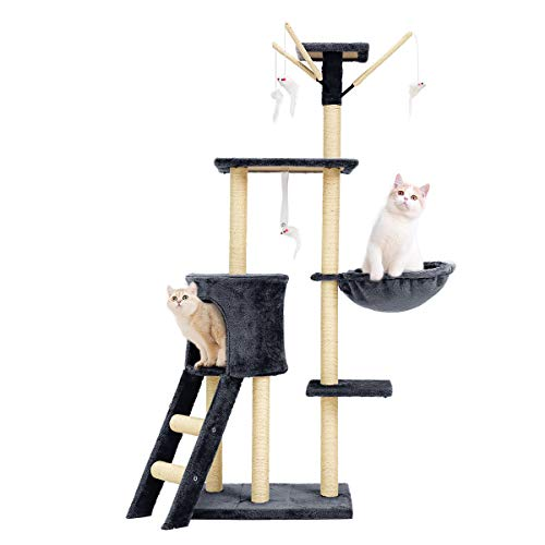 Mellcom Cat Tree Condo with Scratching Posts Perches, Cat Basket Lounger and Ladder, 56' Multi-Level Deluxe Cat Tower Kitten Play House (Grey)