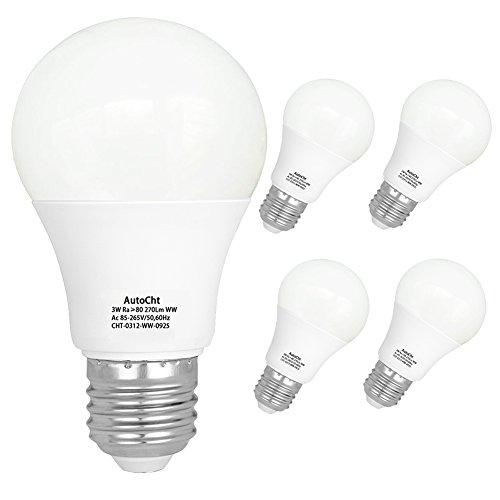 LED Light Bulbs 25 Watt Incandescent Equivalent High Bright E26 Base 3 Watt Soft White Energy Saving Bulbs Home Lighting 270 Lumens, Pack of 5