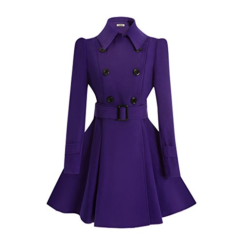 ForeMode Women Swing Double Breasted Wool Coat with Belt Buckle Spring Mid-Long Long Sleeve Lapel Dresses Outwear(Purple XL)