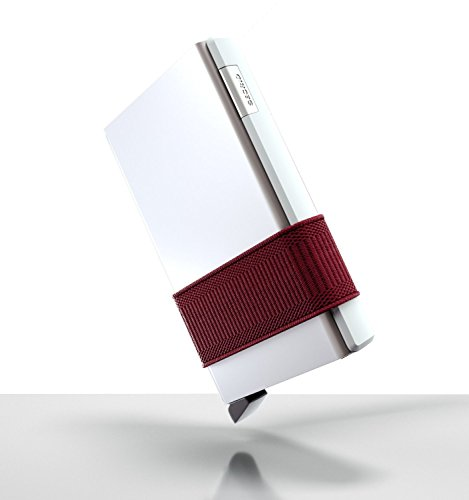Secrid Cardslide Wallet, Silver Cardprotector with Bordeaux Slide, Multi-Use RFID Case