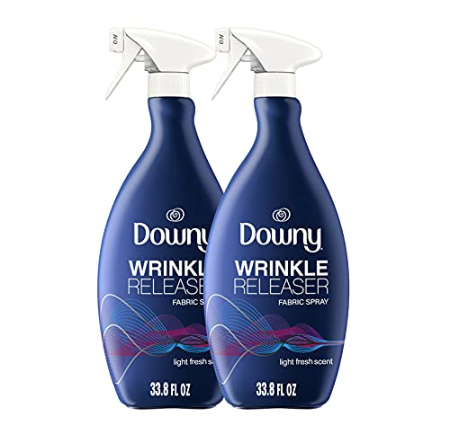 Downy Wrinkle Releaser Fabric Spray, Light Fresh Scent, 67.6 Total Oz (Pack of 2) - Odor Eliminator, Fabric Refresher, Static Remover & Ironing Aid (Packaging May Vary)
