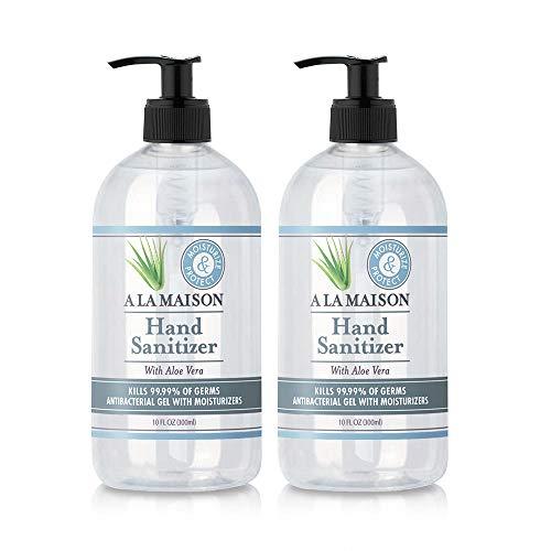 A La Maison Hand Sanitizer Antibacterial Gel with Aloe Vera for Moisturizing 10 Oz (2 Pack)