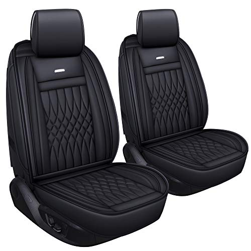 LUCKYMAN CLUB 2 PC Front Car Seat Covers with Waterproof Faux Leather Universal for Sedan SUV Truck Fit for Most Chevy Hyundai Kia Honda Mazda (Black- 2pcs)