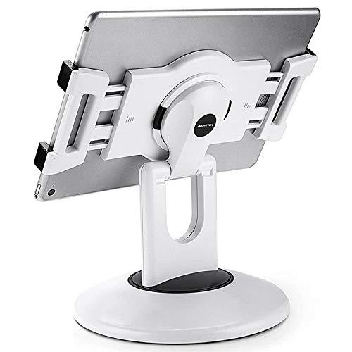 AboveTEK Retail Kiosk iPad Stand, 360° Rotating Commercial Tablet Stand, 6-13.5' Ipad Mini Pro-Business Tablet Holder, Swivel Design for Store POS Office Showcase Reception Kitchen Desktop (White)