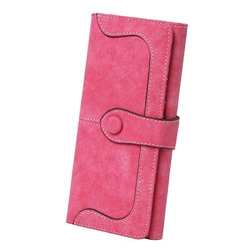 Women's Vegan Leather 17 Card Slots Card Holder Long Big Bifold Wallet,Rose