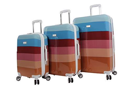 Nicole Miller Luggage Rainbow Collection - 3 Piece Hardside Lightweight Spinner Suitcase Set - Travel Set includes 20-Inch Carry On, 24 inch and 28-Inch Checked Suitcases (Rainbow Spice)