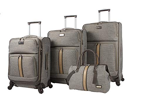Nicole Miller Designer Luggage Collection - 4 Piece Softside Lightweight Expandable Spinner Suitcases- Travel Set includes 17 Inch Tote Bag, 20 Inch Carry On, 24 & 28 Inch Suitcases (Cameron Tan)