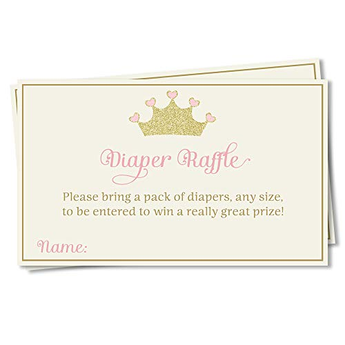 Baby Shower Diaper Raffle Pretty Princess Inserts Princess Girls Pink Blush Tiara Crown Sprinkle Sparkle Diaper Wipes Game Insert Card Request Door Prize (25 Count)
