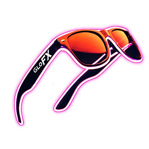 Light Up EL Wire Glasses - Pink - LED Rave Party Sound Activated (Pink)