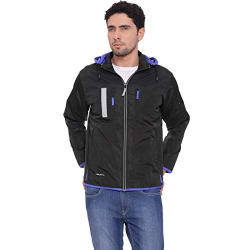 VERSATYL Men's Travel Jacket with 18 Pockets and 29 Features (Large, Black and Electric Blue)
