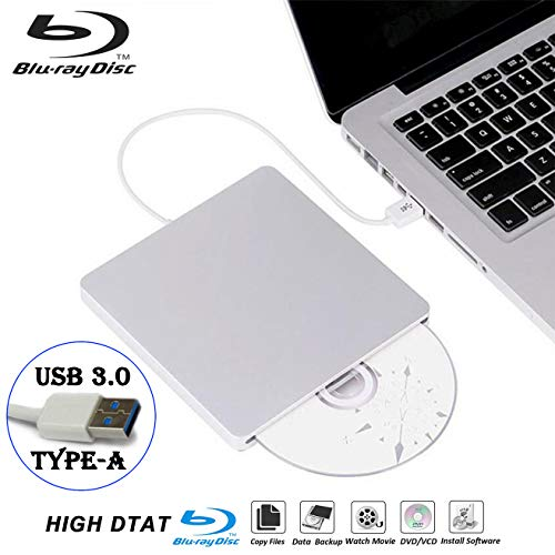 External Blu-ray DVD Drive Recorder Player for Laptop USB3.0 Portable Slim Auto Slot CD/DVD-RAM/BD-ROM Rewriter/Reader with High Speed Data for Windows Mac OS (USB3.0 Type-A)