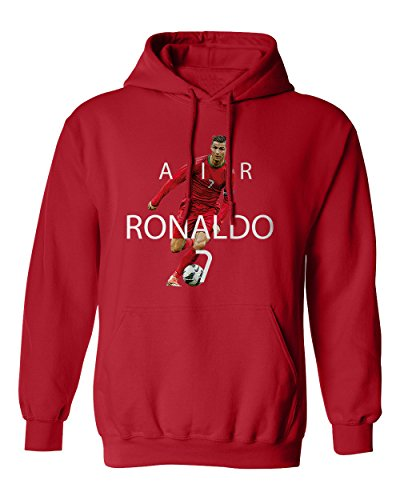 SMARTZONE RED Cristiano Ronaldo Portugal AIR Soccer Men's Hoodie Sweatshirt (Red,XL)