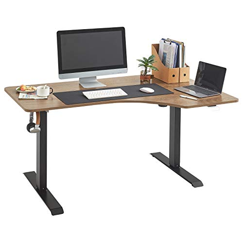 LINSY HOME Electric Standing Desk L Shaped, Height Adjustable Computer Desk Workstation for Home Office with Splice Board, Black Frame Walnut Top, LS260V5-A