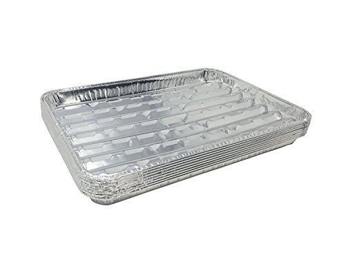 Pack of 15 Disposable Aluminum Broiler Pans – Good for BBQ, Grill Trays – Multi-Pack of Durable Aluminum Sheet Pans – Ribbed Bottom Surface - 13.40' x 9' x 0.85'